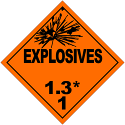 Division 1.3: Substances and articles which have a fire hazard and either a minor blast hazard or a minor projection hazard or both